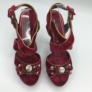D&G Red Velvet Stilettos
